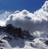 image of plateau  - Snowy mountains in nice day before storm - JPG