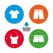 picture of wet t-shirt  - Water drops on button - JPG