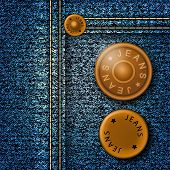 picture of denim jeans  - Metal buttons with inscription jeans on denim - JPG