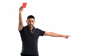 image of referee  - Portrait of referee whistling and showing red card - JPG