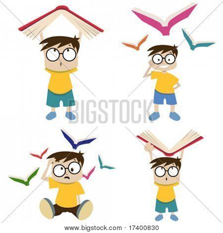 cartoon boy with book illustration