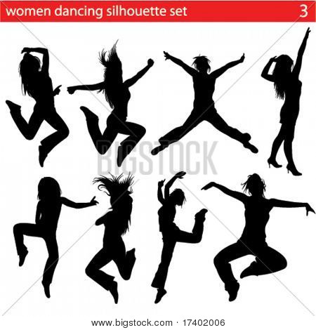 high quality dancing women silhouette set