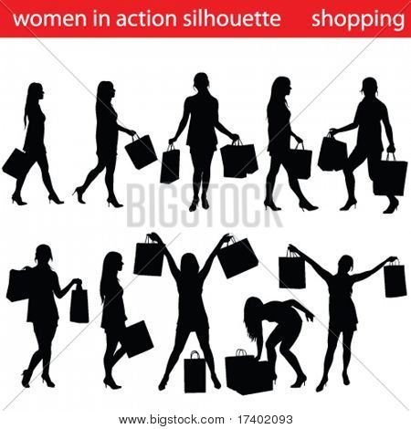 high quality shopping women silhouette