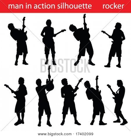 high quality guitar player silhouette
