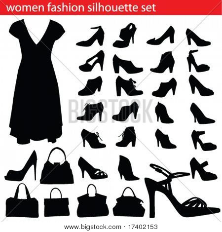 women fashion silhouette set  bags and shoe