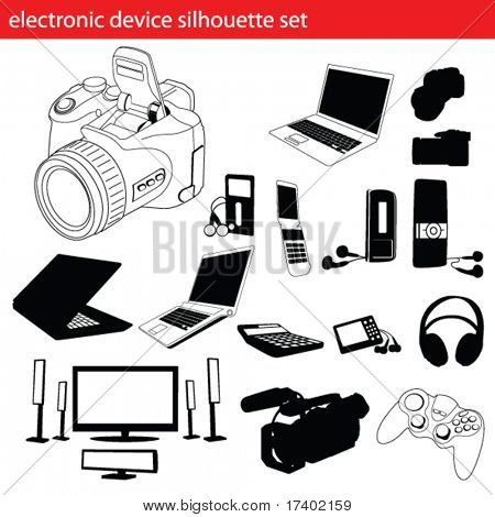 electronic device silhouette set