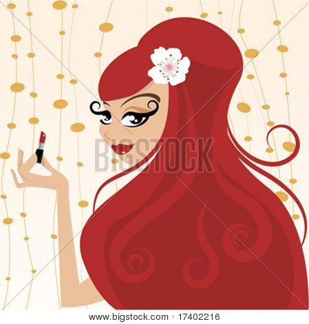 red head woman make up