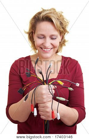 Woman Looking At Cables