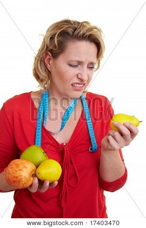 Woman Rejecting Fruits