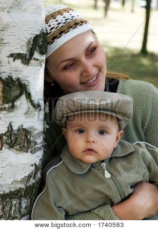 Mum And The Child In A Birch Wood