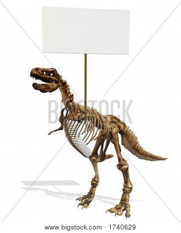 T-Rex esqueleto com sinal em branco
