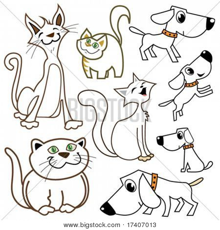 cartoon cats and dogs