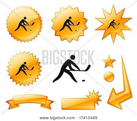 Hockey Icon on Orange Burst Banners and Medals Original Vector Illustration