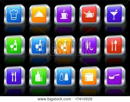 Restaurant Icon on Square Button with Metallic Rim Collection Original Illustration