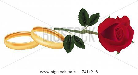 Photo-realistic vector illustration. Rose and two wedding rings.