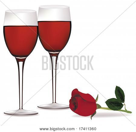 Photo-realistic vector illustration. Two glasses of red wine and a beautiful red rose.