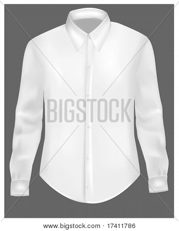 White t-shirt with long sleeves. Photo-realistic vector.