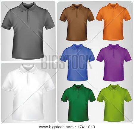 Black and white and colored shirts. Photo-realistic vector illustration.