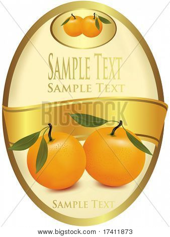 Label with tangerine. Photo-realistic vector illustration