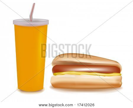 Una bebida y un hot dog. Vector.
