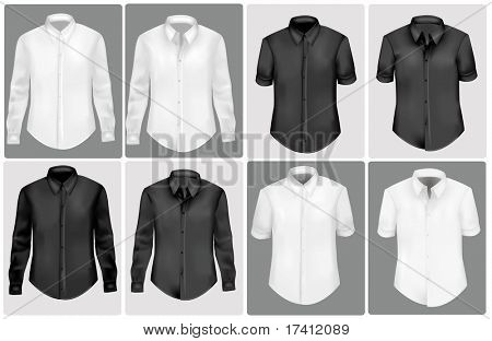 Black and white polo shirts. Photo-realistic vector illustration.