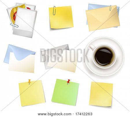 Sticker notes and a envelopes. Photo-realistic vector.