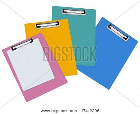 Blank clipboards isolated on white background. Photo-realistic vector illustration.