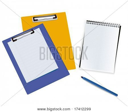 Blank clipboards with paper and notebook. Photo-realistic vector illustration.