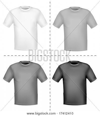 Black and white t- shirts. Photo-realistic vector illustration.