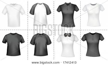 Black and white men and women shirts. Photo-realistic vector illustration.