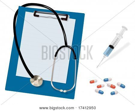 Stethoscope and blank clipboard. Syringe with needle and capsules. Vector