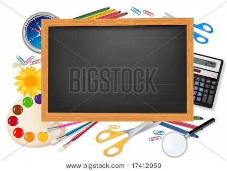 Zurück zur Schule. Schwarzer Schreibtisch mit Zubehör. Vektor.