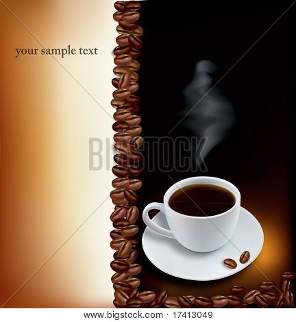 Cup of coffee with coffee grains . Photo-realistic vector.