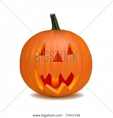 vector Halloween pumpkin vegetable fruit isolated on white background