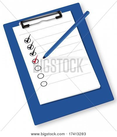 Clipboard with check-boxes. Vector.
