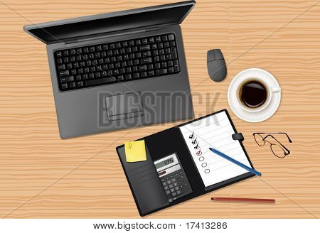 laptop and office supplies laying on the brown board. Vector