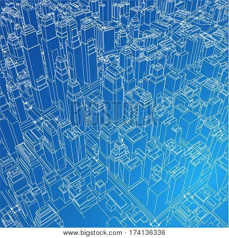 Wire Frame City Blueprint Style Rendering Vector Illustration