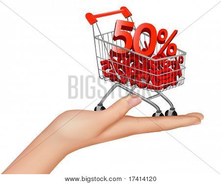 Concept of discount. Hard with shopping cart with sale. Vector illustration