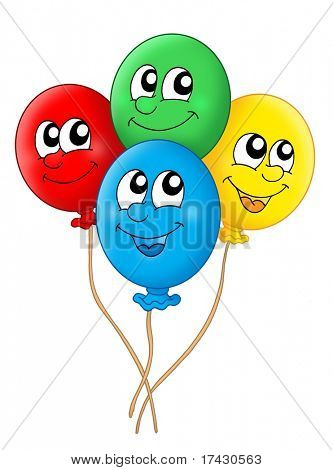 Color illustration of four balloons.