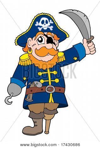 Pirata com sabre - ilustração vetorial.