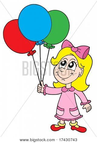Small girl with balloons - vector illustration.
