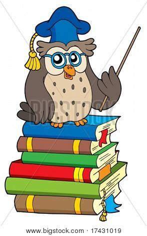 Owl teacher and books - vector illustration.