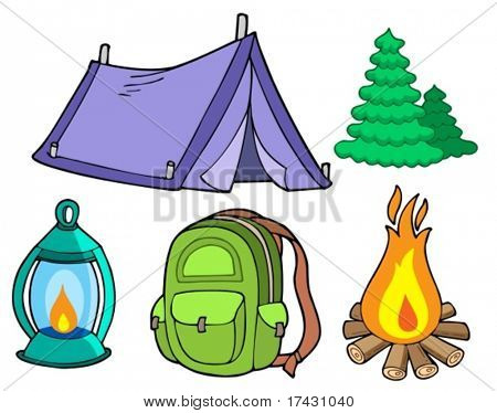 Collection of camping images - vector illustration.