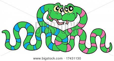 Pair of snakes in love - vector illustration.