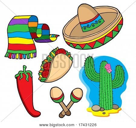 Mexican collection, objects - vector illustration.