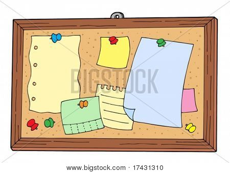 Bulletin board on white background - vector illustration.