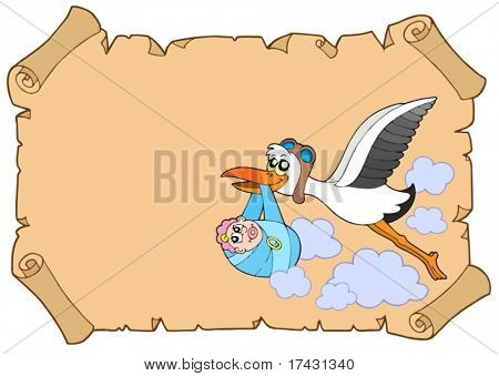 Baby congratulation with stork - vector illustration.