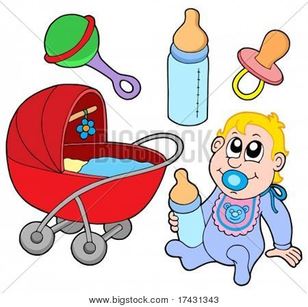 Baby collection on white background - vector illustration.