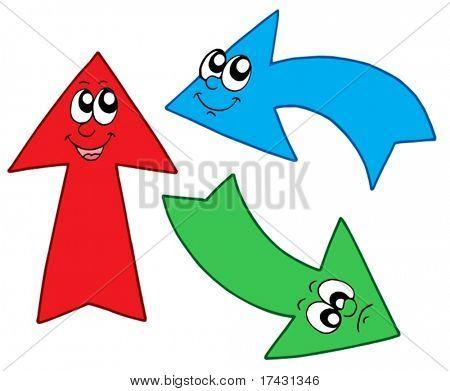 Three cute arrows - vector illustration.