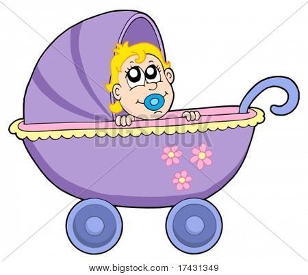 Baby in buggy - vector illustration.